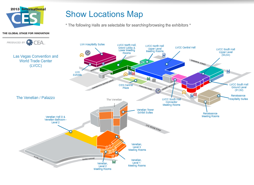 Ces 2013 map lvcc and venetian children 39 s technology for Interactive floor plan map
