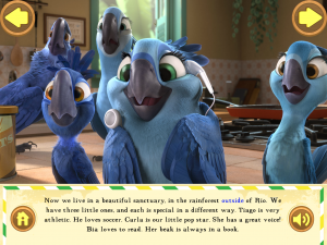 Rio 2 official app for the movie childrens technology review review excerpt in case you missed the movie this 19 screen book like app relives the key moments of how a family of macaw parrots finds a new home voltagebd Images